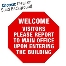 10in. High Intensity Stop Sign Sticker - Welcome Visitors
