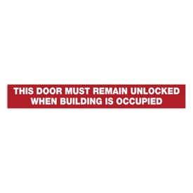 15in. X 2in. Door Decal-Door Must Remain Unlocked