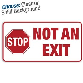 "12 X 6"" Permanent Decal Stop Not An Exit Decal/3pk."