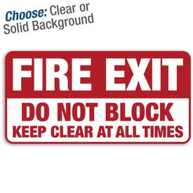 12in. X 6in. Permanent Decal Fire Exit Do Not Block/3pk.