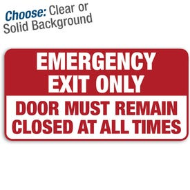12in. X 6in. Permanent Decal Emergency Exit Only/3pk.
