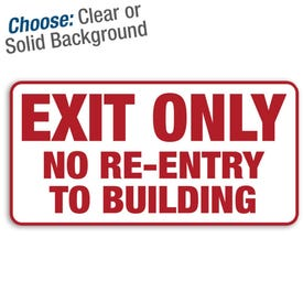 12in. X 6in. Permanent Decal Exit Only No Re-Entry/3pk.