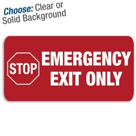 12in. X 6in. Permanent Decal Stop Emergency Exit Only/3pk.