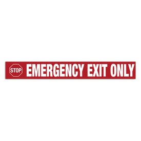 24in. X 3in. Door Decal-Stop Emergency Exit Only